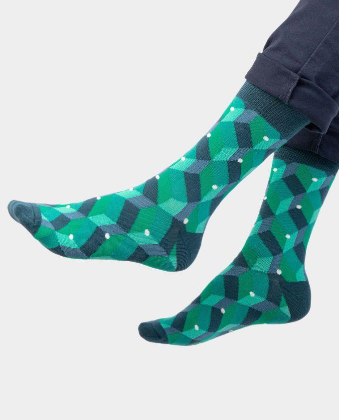 Green Dot Cube kojinės, ant koju kvepiančios spalvotos kojinės, OhSox