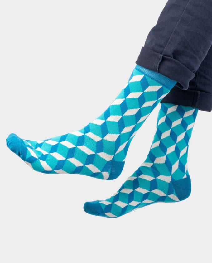 Blue Cube kojinės, ant koju kvepiančios spalvotos kojinės, OhSox