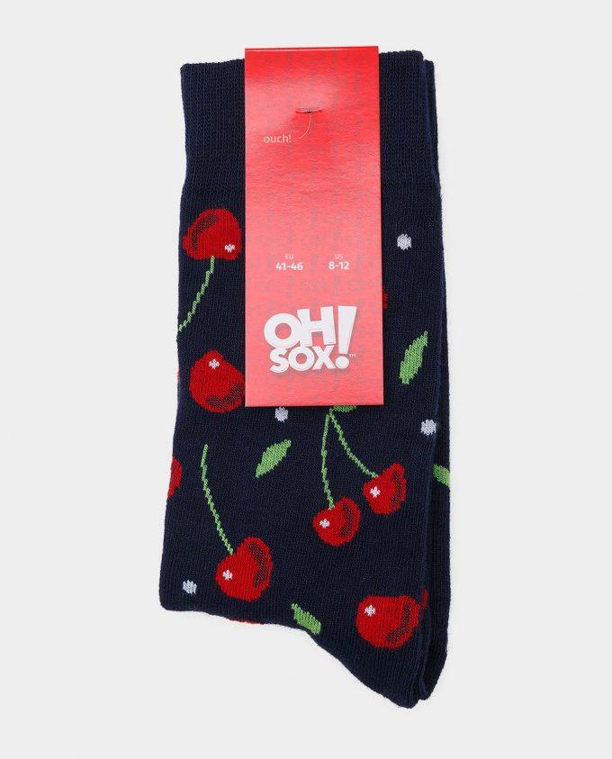 Oh Sox, spalvotos kojinės, raštuotos kojinės, popierinė etiketė, Cherry