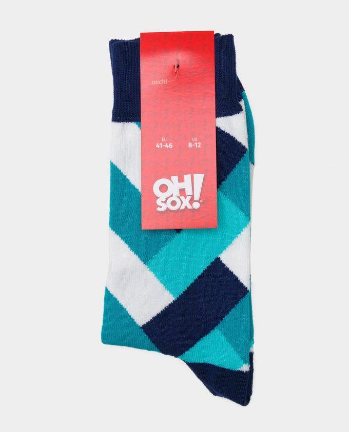 Oh Sox, spalvotos kojinės, raštuotos kojinės, popierinė etiketė, Fresh Mint