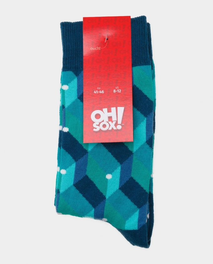 Oh Sox, spalvotos kojinės, raštuotos kojinės, popierinė etiketė, Green Dot Cube