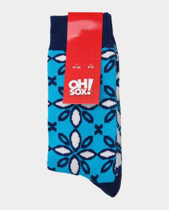 Oh Sox, spalvotos kojinės, raštuotos kojinės, popierinė etiketė, Ice Flowers