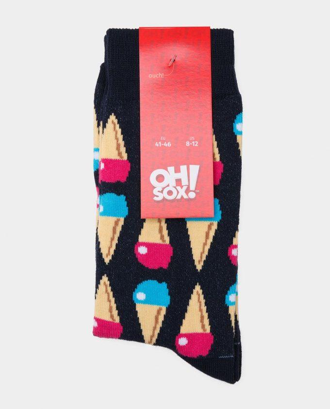 Oh Sox, spalvotos kojinės, raštuotos kojinės, popierinė etiketė, Ice Cream