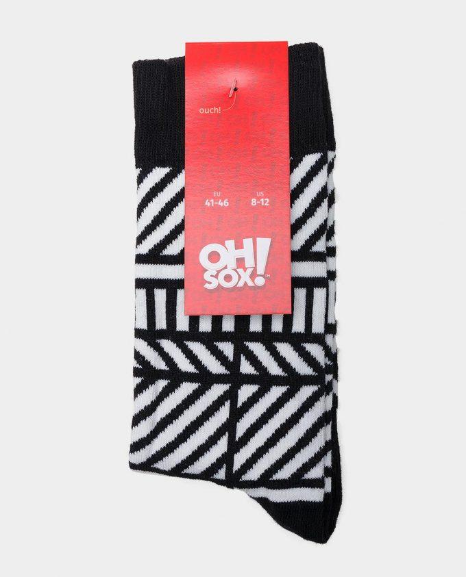 Oh Sox, spalvotos kojinės, raštuotos kojinės, popierinė etiketė, Monochrome