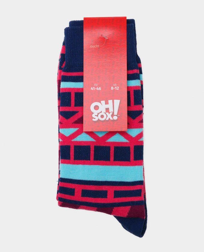 Oh Sox, spalvotos kojinės, raštuotos kojinės, popierinė etiketė Nautical Rose