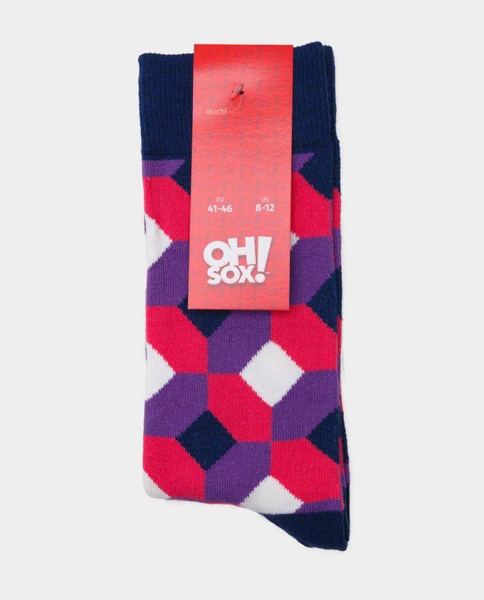 Oh Sox, spalvotos kojinės, raštuotos kojinės, popierinė etiketė, Rhombus